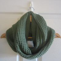 Forest Green Scarf - Knit Infinity Scarf - Warm Winter Scarf - Hand Knitted - Made in Canada - Acrylic Scarf - Loop Scarf - Eternity Scarf