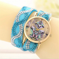 Girls Geometric Figure Crystal Leather Strap Watches Fashion Women Casual Sports Watch Best Christmas Gift