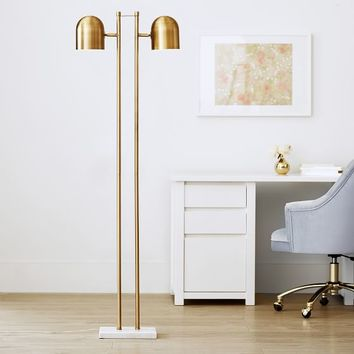 Gold Double-Dome Floor Lamp