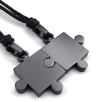 Fashion Accessories, Engraved Titanium Steel Puzzles, Customized Couples Necklaces with Pure Steel Chains