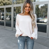 Soft Cream Solid Batwing Sleeve Sweater