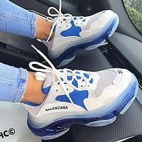 Balenciaga Fashion Women Men Letters Contrast Crystal Clear Shoes Triple Sole Shoes