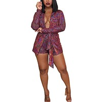 Women 2 Piece Outfits Clubwear - Sequin Long Sleeve Blazer Coat and Shorts Suit Set