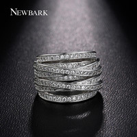 NEWBARK New Sale White Gold Plated Silver Color Rings For Women Multilayer Cross CZ Diamond Biker Ring Jewelry For Christmas