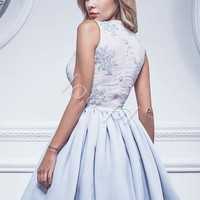 Gray Appliques Satin Homecoming Dress