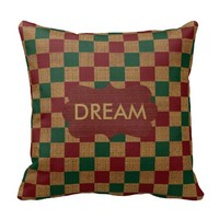Rustic Green, Red and Tan Checkered Burlap Throw Pillow