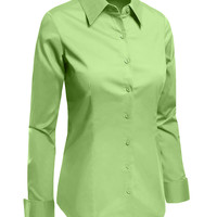 LE3NO Womens Plus Size Lightweight Button Down Shirt with Stretch