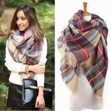 2016 Autumn And Winter Lady Women Blanket Oversized Tartan Scarf Wrap Shawl lady girls Plaid Cozy warm Checked Pashmina (Color Multicolor) [8321370247]