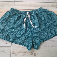 Green Paisley Designs Shorts Print Boho Hobo Beach Hippie Summer Exotic Elegant Clothing Aztec Ethnic Bohemian Ikat Beach Cloth For Summer