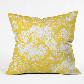 Vy La Bright Breezy Yellow Outdoor Throw Pillow