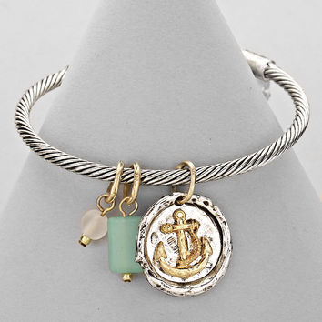 Twisted Rope Charm Metal Bracelet Anchor