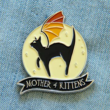 """Mother of Kittens"" Black Cat Enamel Pin"