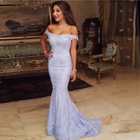 Elegant Lavender Lace Mermaid Prom Dresses Lace Straps Off the Shoulder Prom Gowns Plus size Vestido de festa Longo HD-554