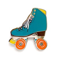 Teal roller skate pin with glow in the dark wheels