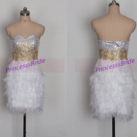 2014 short white homecoming dress with ostrich feather,unique gold sequins prom gowns,cheap women dresses for holiday party hot.