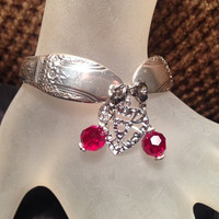 "Vintage Silver Plated ""First Love"" Flatware/Silverware/Spoon Bracelet With Heart Charm and Red Bangles"