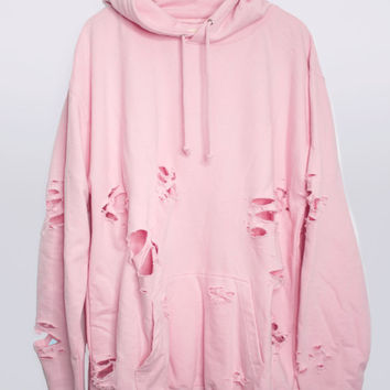 BB Pink Hand Distressed Oversized Hoodie