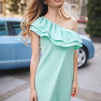 One Shoulder Ruffles Shift Dress