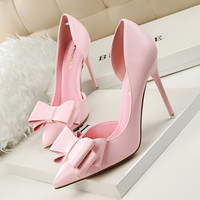 2016 New Summer Women Pumps Sweet Bowknot High-heeled  Shoes Thin Pink High Heel Shoes Hollow Pointed Toe Stiletto Elegant G3168