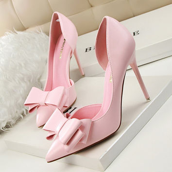 Thin Pink High Heel Shoes Hollow Pointed Stiletto Elegant