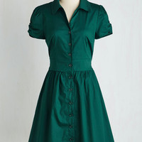 50s Mid-length Short Sleeves Fit & Flare Summer School Cool Dress in Forest Green