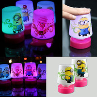 New Colorful 7 Color Lights Changing Despicable Me Minions Santa Clause Rose Lover Pat Table Lamp Night Light AL3292
