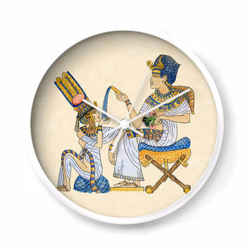 King Tut Wall Clock, King Tutenkhamun with Queen Ankhesenamun