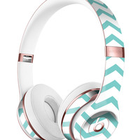 Teal and White Jagged Chevron Full-Body Skin Kit for the Beats by Dre Solo 3 Wireless Headphones