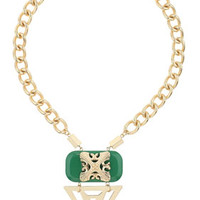 Green Rectangle Chunky Necklace - Green