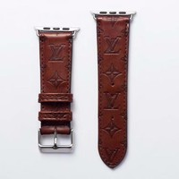 LV EMBOSS APPLE WATCH BAND - BROWN