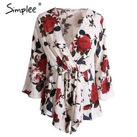Simplee Apparel Boho red floral print elegant jumpsuit romper Summer style sexy v neck women playsuit Beach chiffon overalls