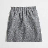 Factory pleated mini skirt in flecked wool