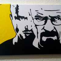 """Breaking Bad: 9"""" by 12"""" Pop Art Painting with Yellow Background / Jesse Pinkman (Aaron Paul) and Walter White (Bryan Cranston)"""