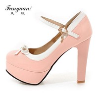 Fanyuan 2017 Spring Sweet Women Pump Super High Thick Square Heel Patent Leather Candy Color Buckle Strap Cute Bow Ladies Shoes