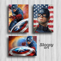 captain america art avengers print set of 3 superhero painting marvel wall art