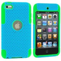 BasTexWireless Neon Green / Baby Blue Hybrid Mesh Hard Silicone Case Skin Cover for iPod Touch 4th Generation 4G 4