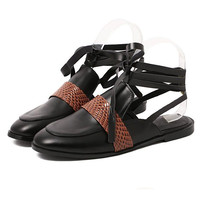 Black Contrast Croco Accent Lace-up Sandals