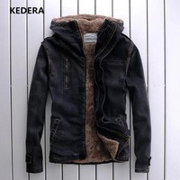 2016 Winter jacket fashion jeans Men fashion Denim Jacket man jacket Casual coat jeans with Fur Collar jacket Plus Size