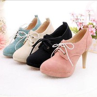 Women's Lace-up High Heel Shoes from Vintage-Fash
