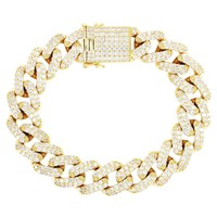 Men's 15mm  Box Lock Miami Cuban Square Link Bracelet