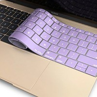"Kuzy - Light PURPLE Keyboard Cover for MacBook Pro 13 inch A1708 (No TouchBar) Release 2016 & MacBook 12"" A1534 NEWEST Silicone Skin - Light Purple"