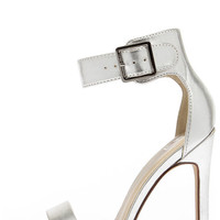 My Delicious Canter Silver Ankle Strap Heels