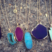 Gold Chain Stone Necklaces