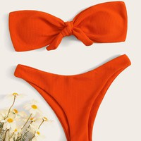 Tie Front Bandeau With High Cut Bikini Set