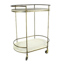 Gibson Bar Cart - Antique Brass with White Wood