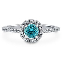 Sterling Silver Round Simulated Aquamarine CZ Halo Ring 0.63 ct.twBe the first to write a reviewSKU# R569-AQ