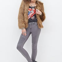 FOREVER 21 Skinny Low-Rise Moto Jeans Grey