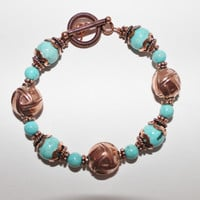 Handcrafted Turquoise and Copper Bracelet