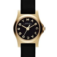 Women's MARC BY MARC JACOBS 'Henry Dinky' Leather Strap Watch, 20mm - Black/ Gold