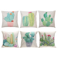 Creative Cactus Plant Pattern Cotton Linen Cushion Cover 45cm * 45cm Throw Pillow Case for Home Decor Car Seat Cushion Covers